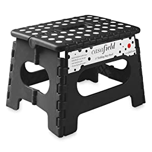 """Casafield 9"""" Folding Step Stool with Handle, Black - Portable Collapsible Small Plastic Foot Stool for Kids and Adults - Use in The Kitchen, Bathroom and Bedroom"""