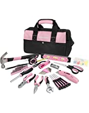 WORKPRO Pink Tool Kit, 75-Piece Lady's Home Repairing Tool Set with Wide Mouth Open Storage Bag