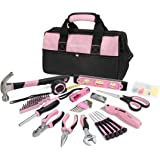WORKPRO 75-piece Pink Lady Tool Set Home Repairing Kit with Wide Mouth Open Storage Bag