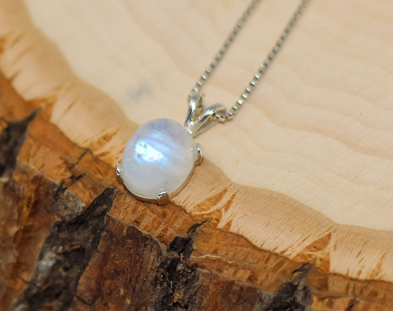 18 Wedding Gift Necklace Size Handamade 925 Sterling Silver Necklace Natural Moonstone Necklace June Birthstone