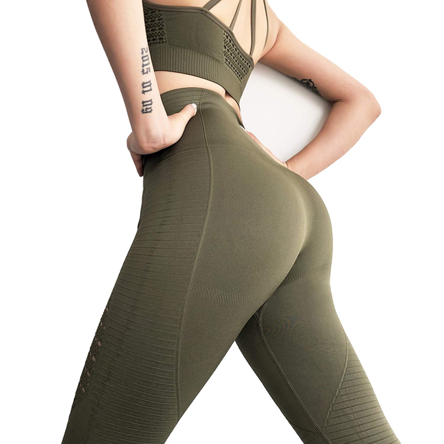 3 Army Green RIOJOY Yoga Pants for Women Hollow Out Elastic Waist Tummy Control Stretchy Pants Fitness Leggings Gym Compression Sports Tights