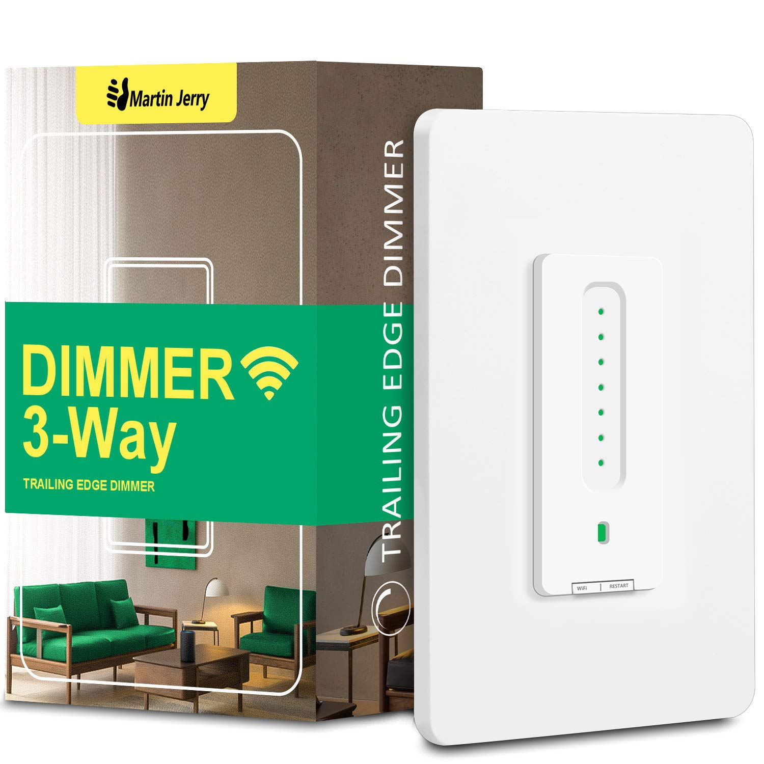3 Way Smart Dimmer Switch by Martin Jerry | Touch Trailing Edge Dimmer, SmartLife App, Compatible with Alexa as WiFi Light Switch Dimmer, Works with Google Home