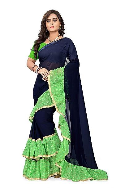 e968da1d145b7d Reeva Trendz Women s Georgette Ruffle Saree With Blouse Piece  Amazon.in   Clothing   Accessories