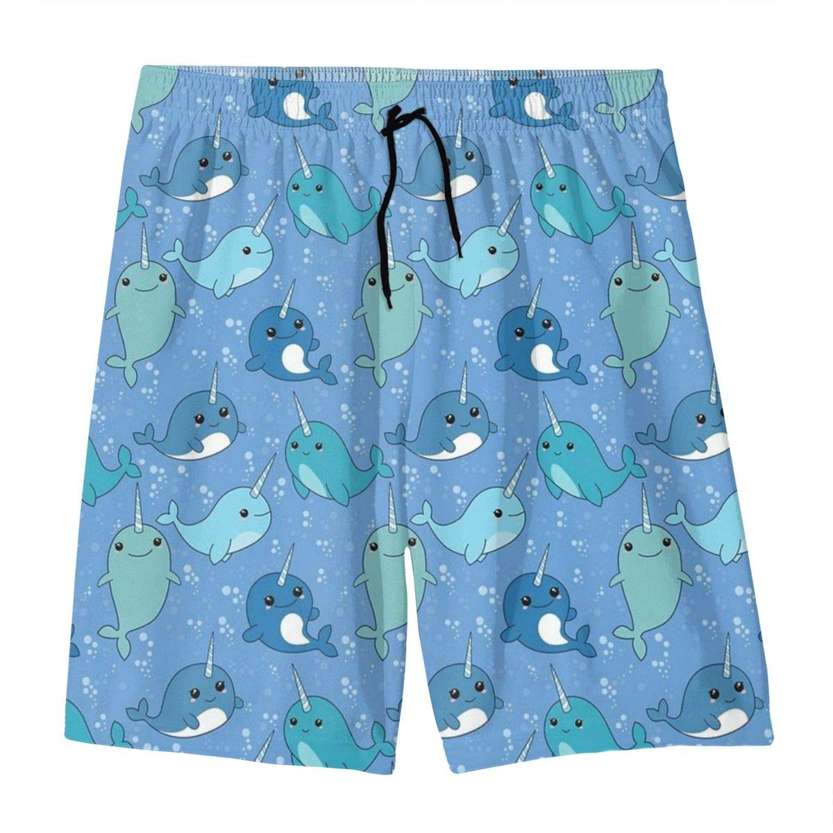 Narwhal Pattern Swim Trunks Beach Board Shorts Cool Novelty Bathing Suits for Teen Boys