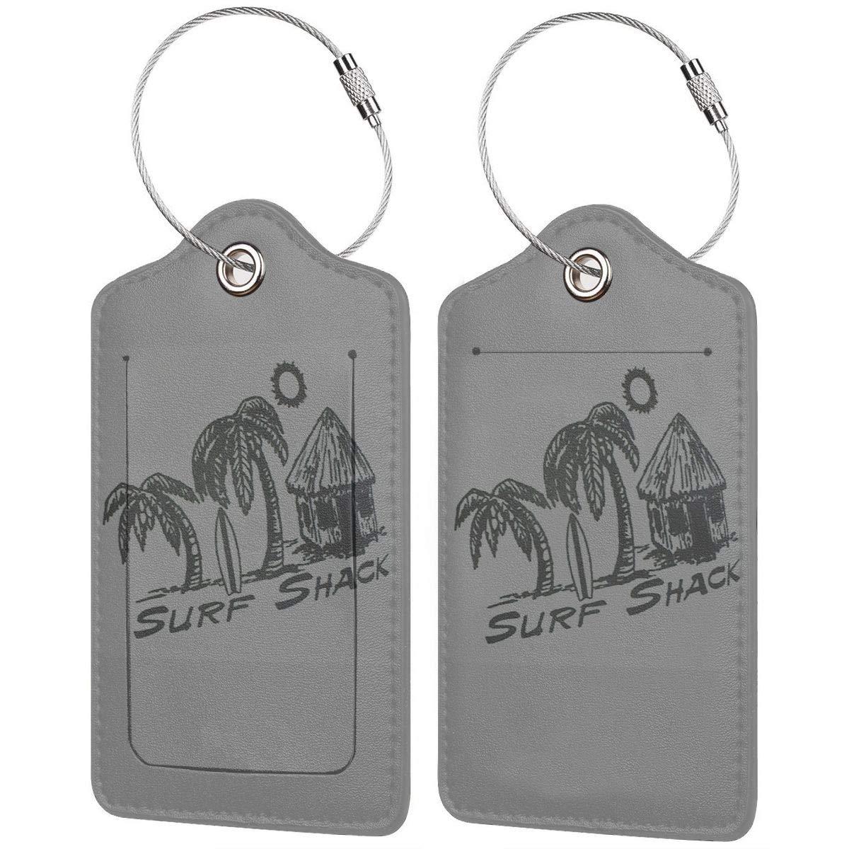 1pcs,2pcs,4pcs Surf Shack Pu Leather Double Sides Print Luggage Tag Mutilple Packs
