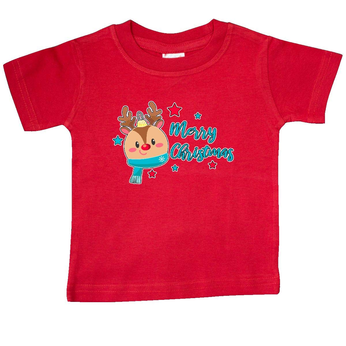 inktastic Merry Christmas with Reindeer Ornament and Stars Baby T-Shirt