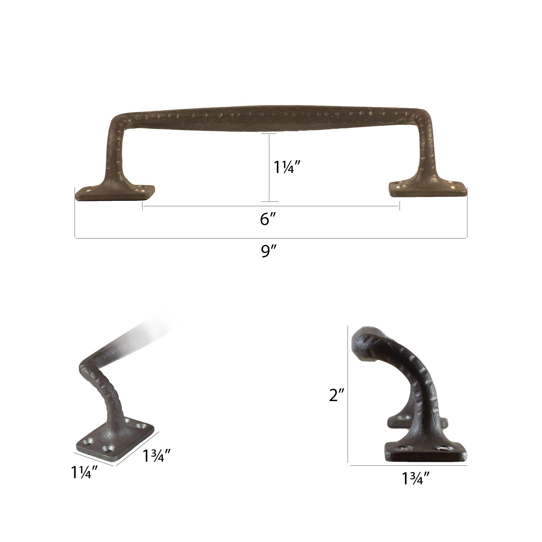 """Rustic Barn Door Pull Handles: Barn Door Pull Handle 9"""" Solid Cast Iron With Rustic Look"""