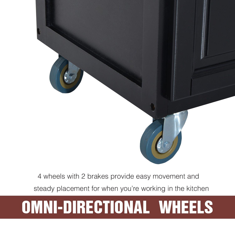 HOMCOM Wood Top Drop-Leaf Rolling Kitchen Island Table Cart on Wheels - Black by HOMCOM (Image #6)