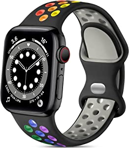 Lerobo Compatible with Apple Watch Band 44mm 42mm, Soft Silicone Sport Bands Breathable Wristband Replacement Strap Compatible for iWatch SE Series 6 5 4 3 2 1 Women Men, Black/Rainbow, M/L
