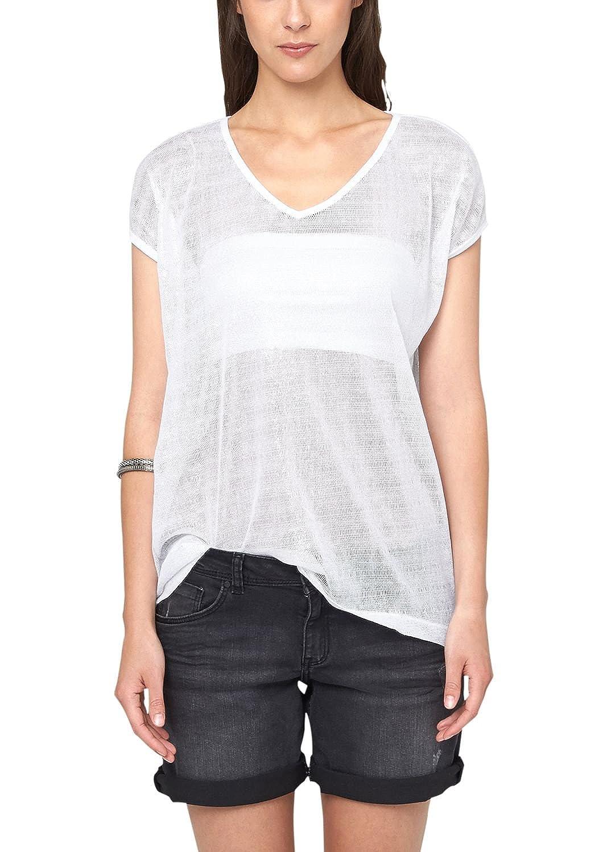 Mesh 41.506.32.2502 - T-Shirt - uni - Col V - Manches Courtes - Femme - Blanc (White 0100) - 36 (Taille Fabricant: XS)s.Oliver Denim Jeu Énorme Surprise NpQhYg
