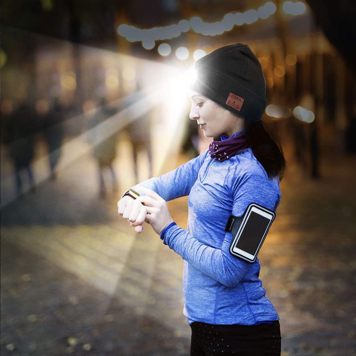 SSCJ Gorra inalámbrica Carga Bluetooth Beanie con Linterna LED Carga inalámbrica USB Gorra de música Unisex Correr Esquí Senderismo Camping Ciclismo/Recibir Llamadas/Escuchar música,Negro 3ff4ef