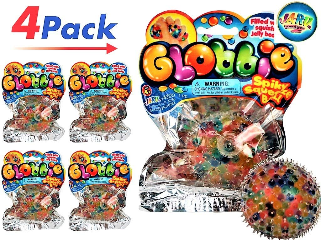 Party Favor in Bulk 4348-6s JA-RU Squishy Ball Toy Animals Sparkly Stress Ball Stretchy Balls Therapy Anxiety Autism 6 Units Assorted Stretchy Hair Stress Relief Fidget Pack Toy for Kids Adults