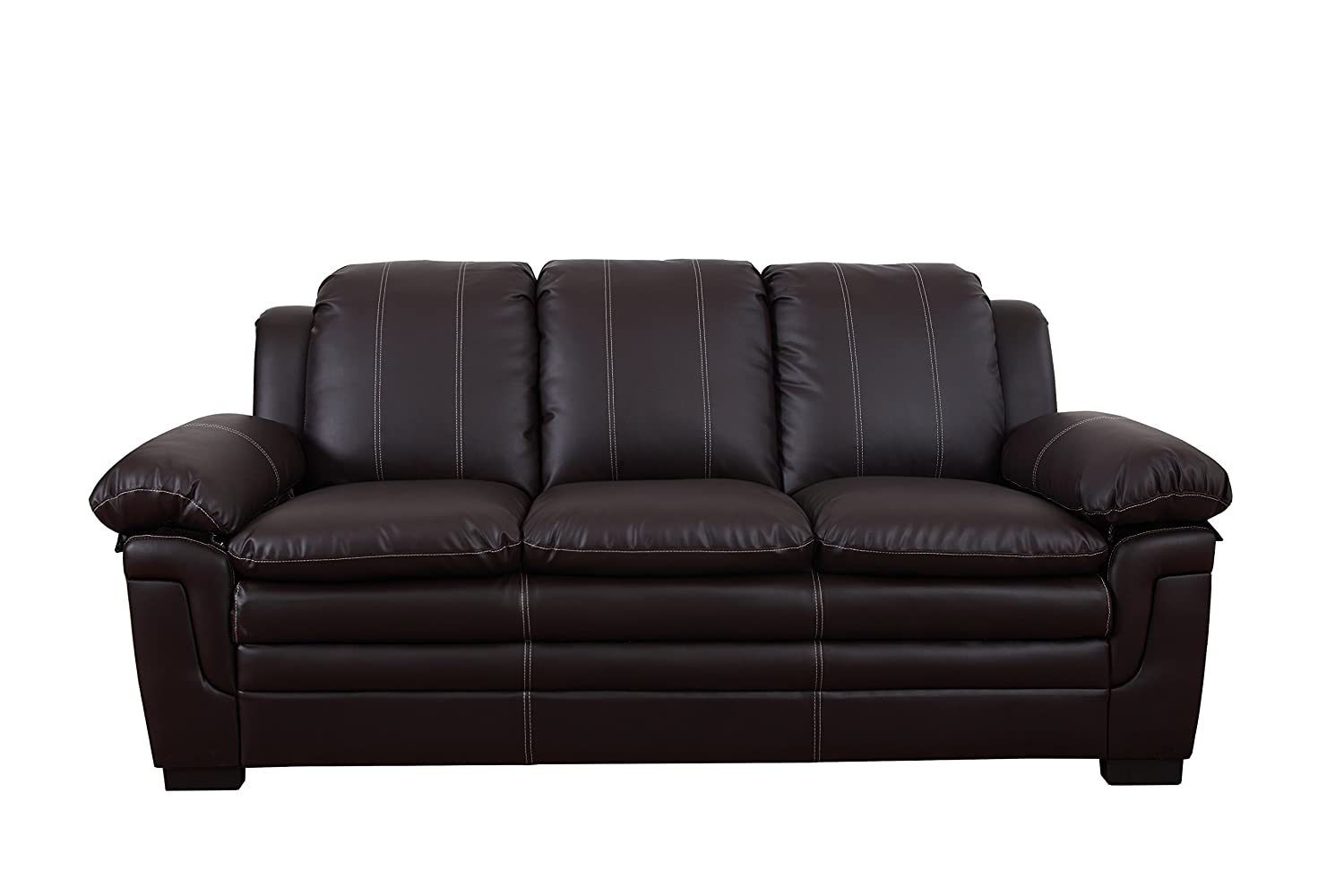 Amazon Divano Roma Classic Bonded Leather Sofa and Loveseat