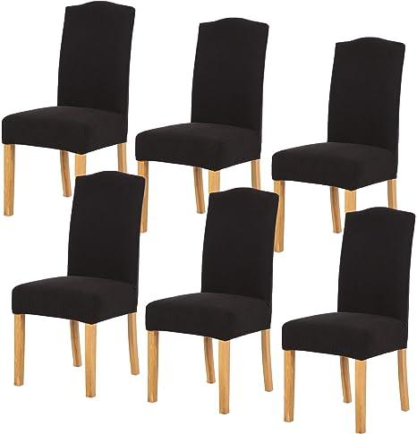 TIANSHU Fundas para sillas 6 Piezas,Poliéster Elástica Fundas sillas Duradera Modern Bouquet de la Boda Hotel Decor Restaurante(6 Piezas,Negro)