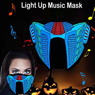 Halloween Mask Neon Mask led mask Scary Mask Light up Mask Cosplay Mask Lights up for Halloween Festival Party (Blood Equalizer)