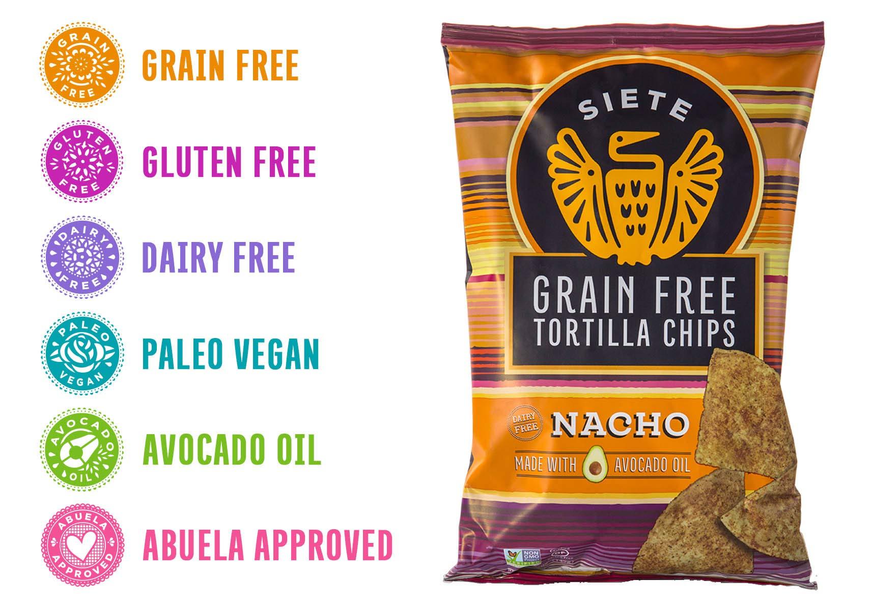 Siete Grain Free Tortilla Chips, Nacho, 5 oz by Siete