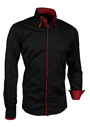 new styles a08f6 23ac4 Giorgio Capone Premium Herrenhemd, Schwarz mit Roten Akzenten, Langarm,  Button-Down-Kragen, Slim/Normal & Regular-Plus Fit