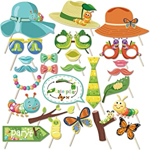 Kristin Paradise 25Pcs Very Hungry Caterpillar Photo Booth Props with Stick, Spring Selfie Props, First Birthday Party Supplies, Bday Baby Shower Theme Backdrop Decorations for Photobooth
