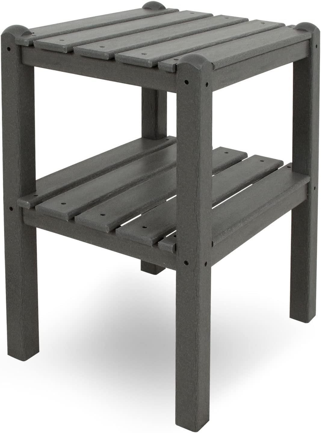 POLYWOOD TWSTGY 2-Shelf Side Table, Slate Grey : Patio Side Tables : Garden & Outdoor