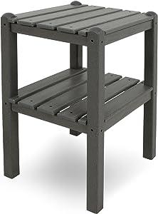 POLYWOOD TWSTGY 2-Shelf Side Table, Slate Grey