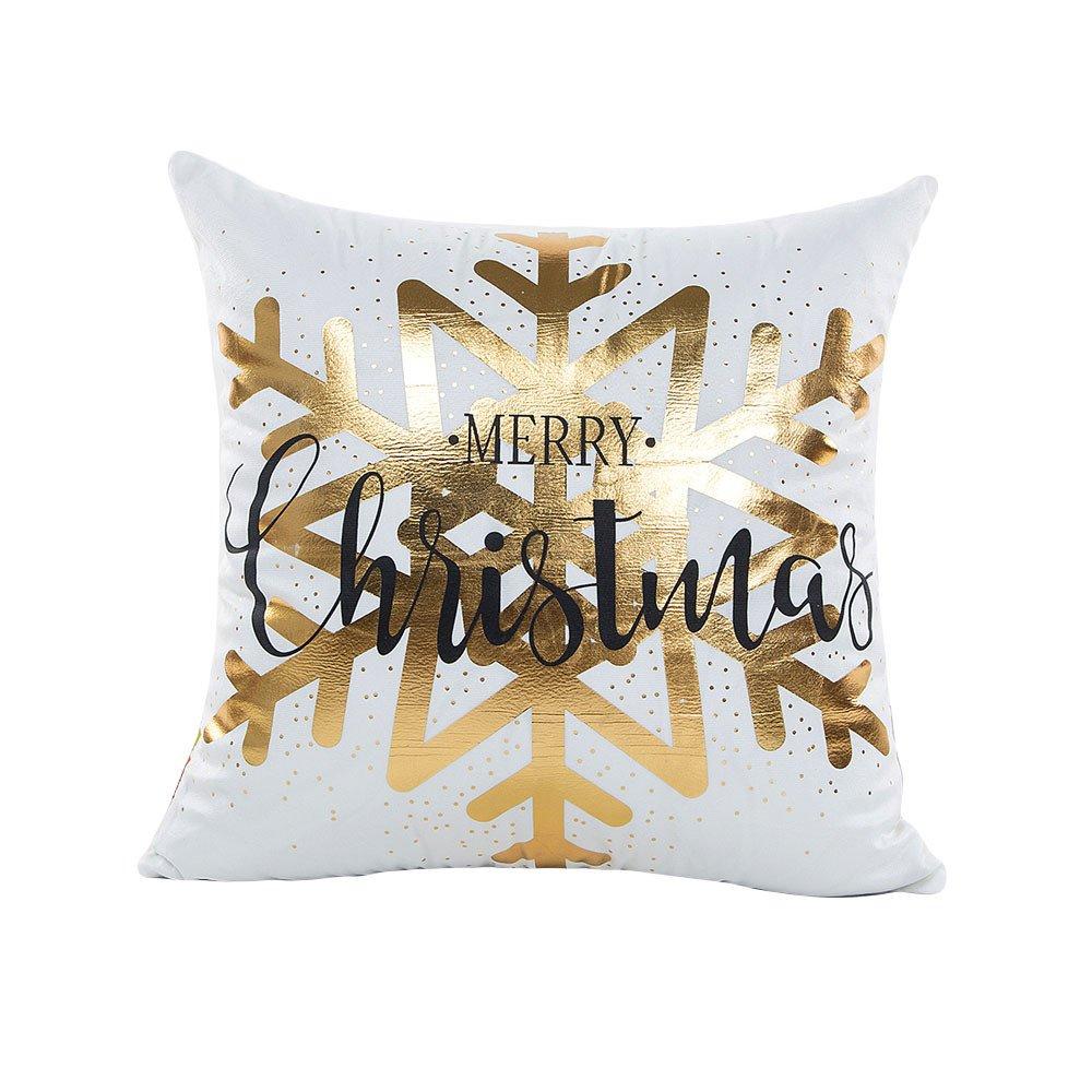 Mlide 新色 マーケティング 金箔プリント枕カバー メリークリスマス ソファ ウエスト スロー D ホームインテリア ホワイト クッションカバー B07HFRYZLP 45cmx45cm
