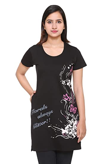 ca1e417c568 IN Love Women s Ladies Cotton Knee Length Side Slits Side Pocket Graphic  Print Long Line Top Night wear Sleep Shirt T Shirts (Assorted Colours)  (Small-5XL)