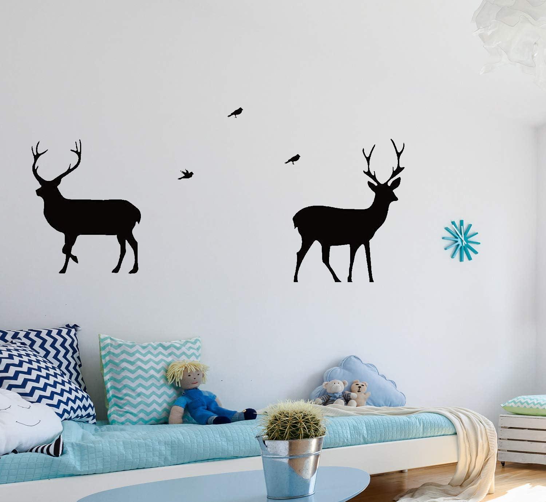4Sets-White AIYANG Sticker Mural g/éant Arbre Bouleau Autocollants Deer Oiseaux Stickers muraux pour Enfant b/éb/é Fille Chambre Salle de Jeux Decor