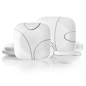 Corelle 18-Piece Service for 6, Chip Resistant, Simple Lines Dinnerware Set,