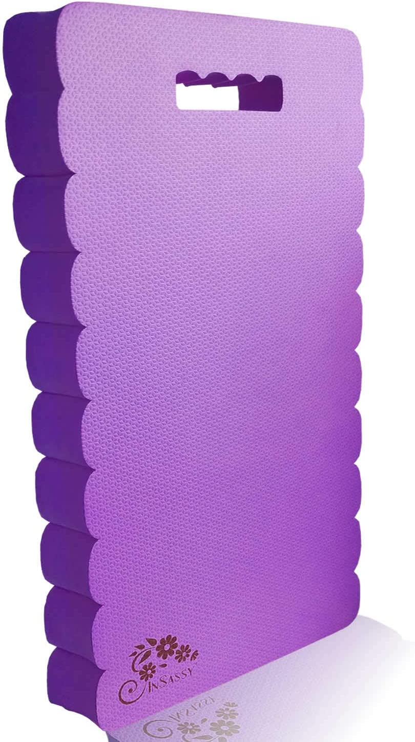 InSassy Garden Kneeler Pad - Kneeling Mat Gardening Baby Bath Work Yoga Exercise & Prayer - High Density Knee Pad, Purple (Largest & Thickest - 22 x 11 x 1 1/2 Inches)
