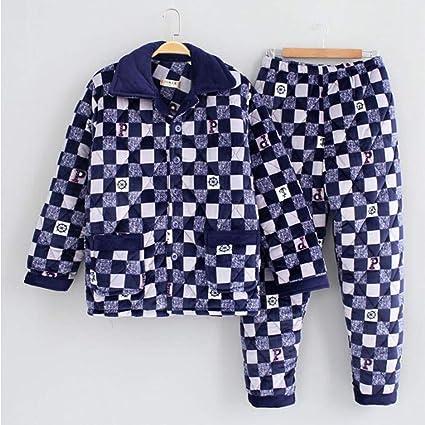 GJ Pijamas, Crystal Fleece Pijamas de algodón, los Hombres ...