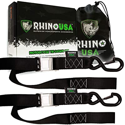 RHINO USA Motorcycle Tie Down Straps (2 Pack) Lab Tested 3,328lb Break Strength, Steel Cambuckle Tiedown Set with Integrated Soft Loops - Better Than a Ratchet Strap: Automotive
