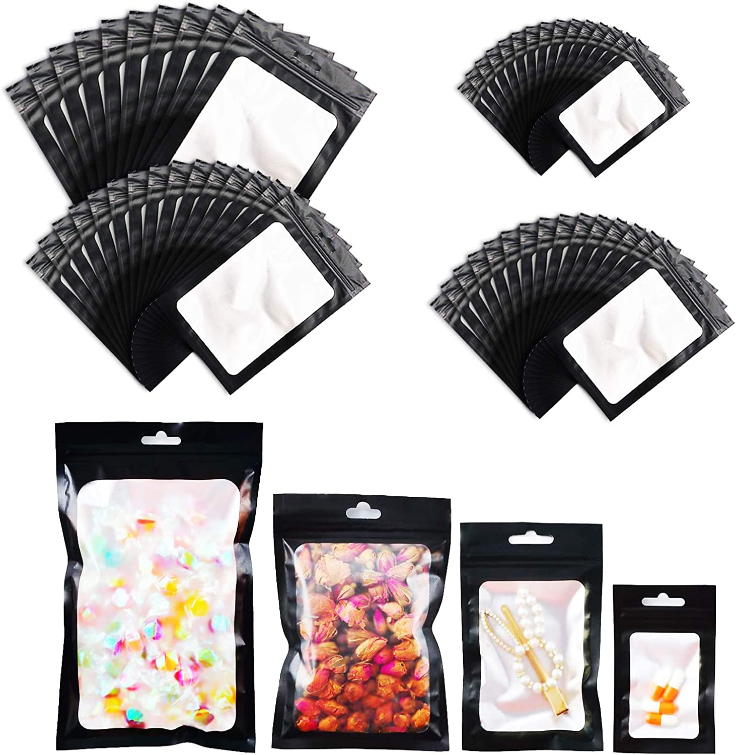 Kakaluote Reusable Ziplock Bags 120 Pieces, Metallic Foil Mylar Bags, Smell Proof Bag, Reusable Storage Bags for Freezer, Food, Fruit, Sandwich Candy, Jewelry, Screw 4 Sizes Packaging Bags