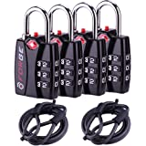 Forge TSA Travel Lock 4 Pack with Cables- Open Alert Indicator, Easy Read Dials, Luggage Lock