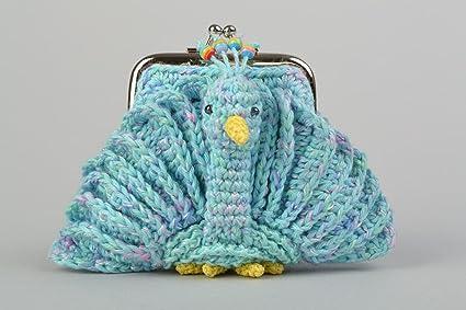 Monedero tejido a ganchillo de color azul Pajaro de fuego para ninos artesanal