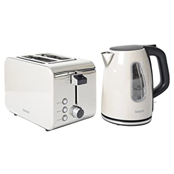 19807d1c4a98 Igenix IGPK09 Breakfast Set, Kettle and 2 Slice Toaster - Metallic Cream:  Amazon.co.uk: Kitchen & Home