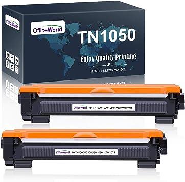 Imagen deOfficeWorld Compatible Brother TN1050 TN-1050 Cartucho de tóner para Brother DCP-1510 DCP-1512 DCP-1610W DCP-1612W, HL-1110 HL-1112 HL-1210W HL-1212W, MFC-1810 MFC-1910W (2 Negro)