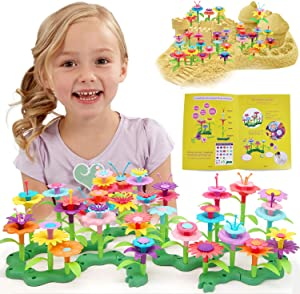 POMIKU Kids Flower Garden Building Toy, Build a Bouquet STEM Kit for Age 3, 4, 5, 6, 7 Year Old Toddler Girls Birthday & Christmas Gifts (109 PCS)