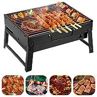 Grill schwarz klein BBQ Camping Balkon Picknick ✔ eckig ✔ tragbar ✔ Grillen mit Holzkohle