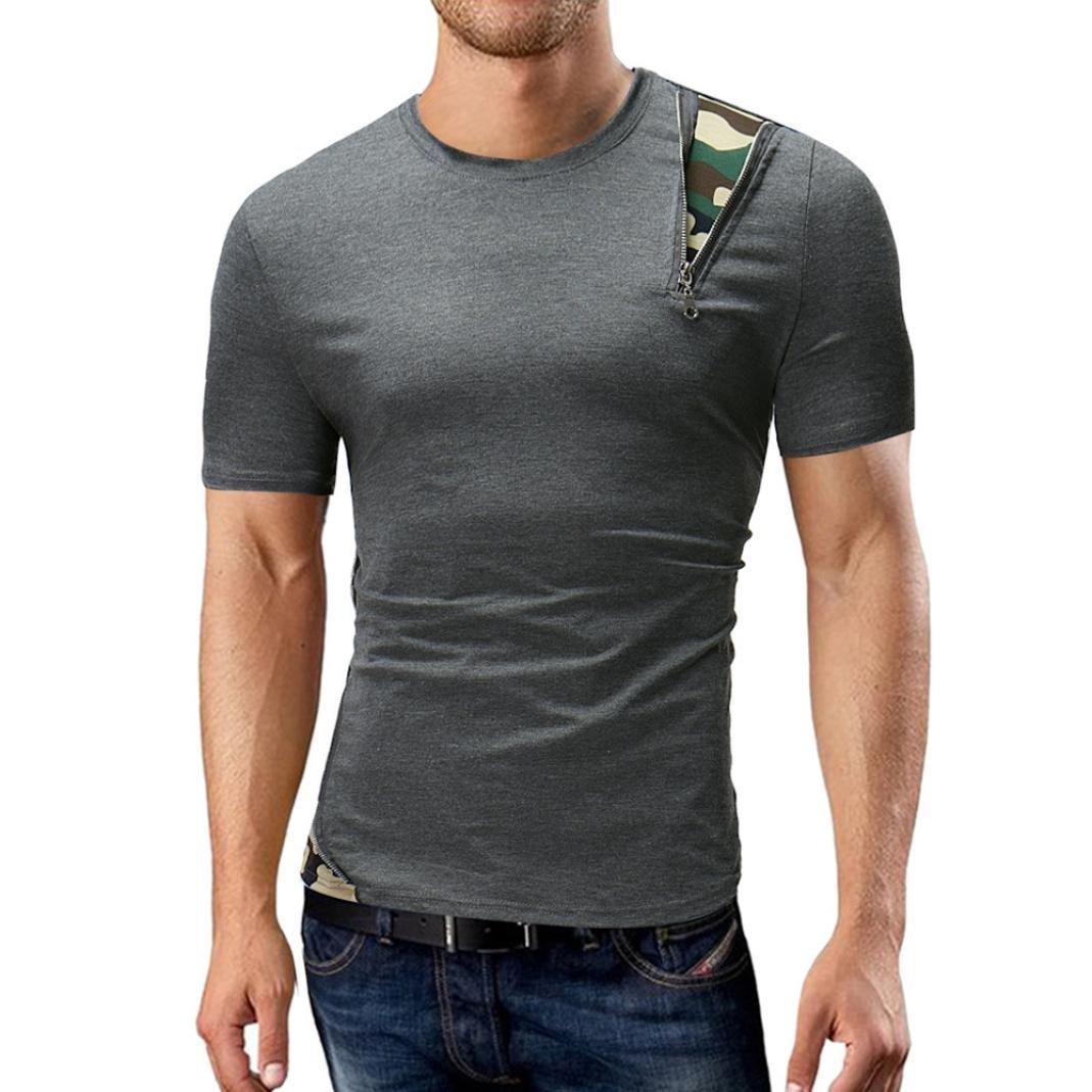 Longra Herren T-Shirt Kurzarm Shirt Top mit Reiszlig;verschluss und Camouflage-Muster Herren Sommer Casual Rundhals Einfarbige T-Shirts Patchwork T-Shirt Slim T Shirt  XXL|Dark Gray