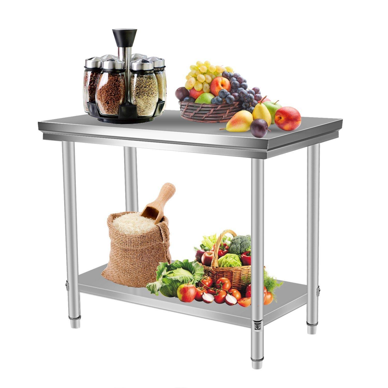 Homgrace Küchentisch Edelstahl Tisch Küche Arbeitstisch Edelstahltisch mit großer Ablagefläche (100 x 60 x 80cm, ohne Aufkantung)