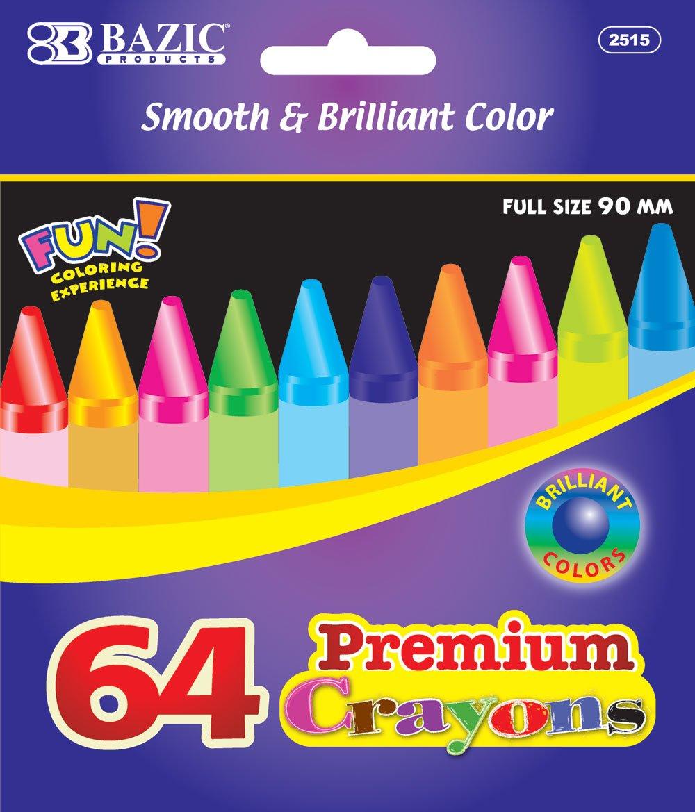 BAZIC 64 Ct. Premium Quality Color Crayon, Case Pack 48