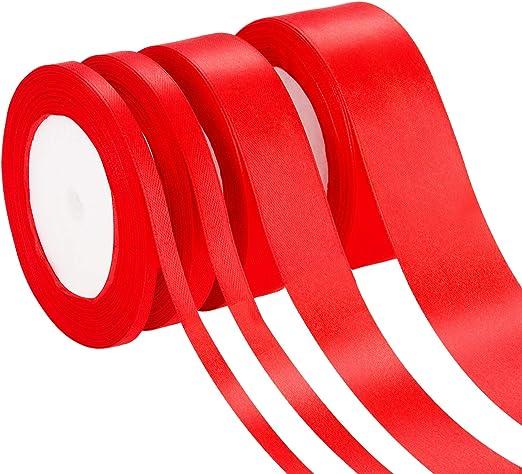 4 Rollos 4 Tamaños de Cinta de Satén Cinta Sedosa de Tela Rollo de Satén para Colgar Embalar DIY Navidad Día de San Valentín Manualidades (Rojo): Amazon.es: Hogar