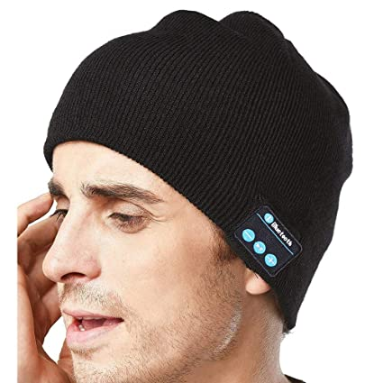 9c22c050b1a JDHDL Upgraded Unisex Knit Blue Tooth Beanie Hat Headphones V4.2 Unique  Tech Birthday Gift