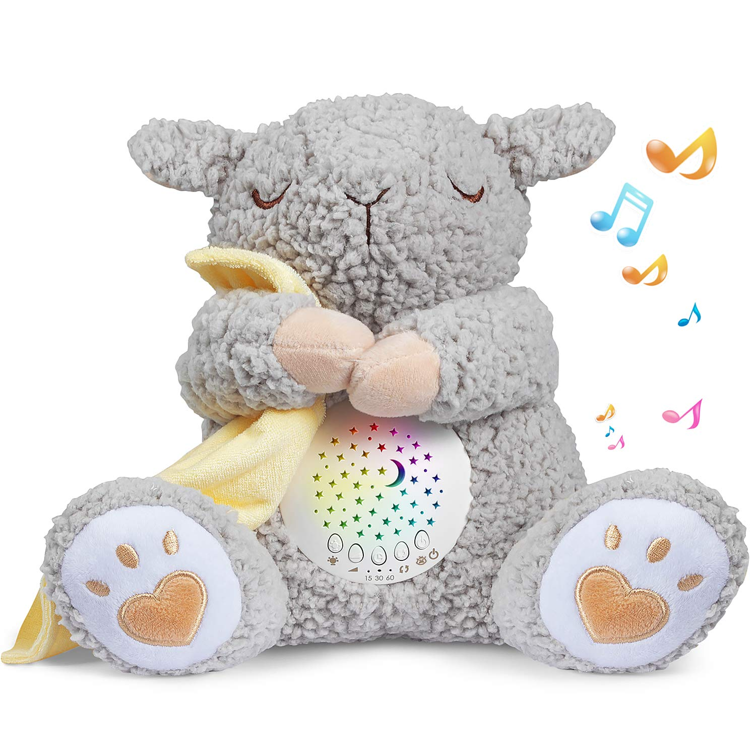 BEREST Rechargeable Dreamy Sheep, Baby Cry Sensor Mom's Heartbeat Lullabies & Shusher White Noise Machine, Nursery Decor Night Light Projector, Toddler Crib Sleeping Aid, Baby Shower Gifts Portable