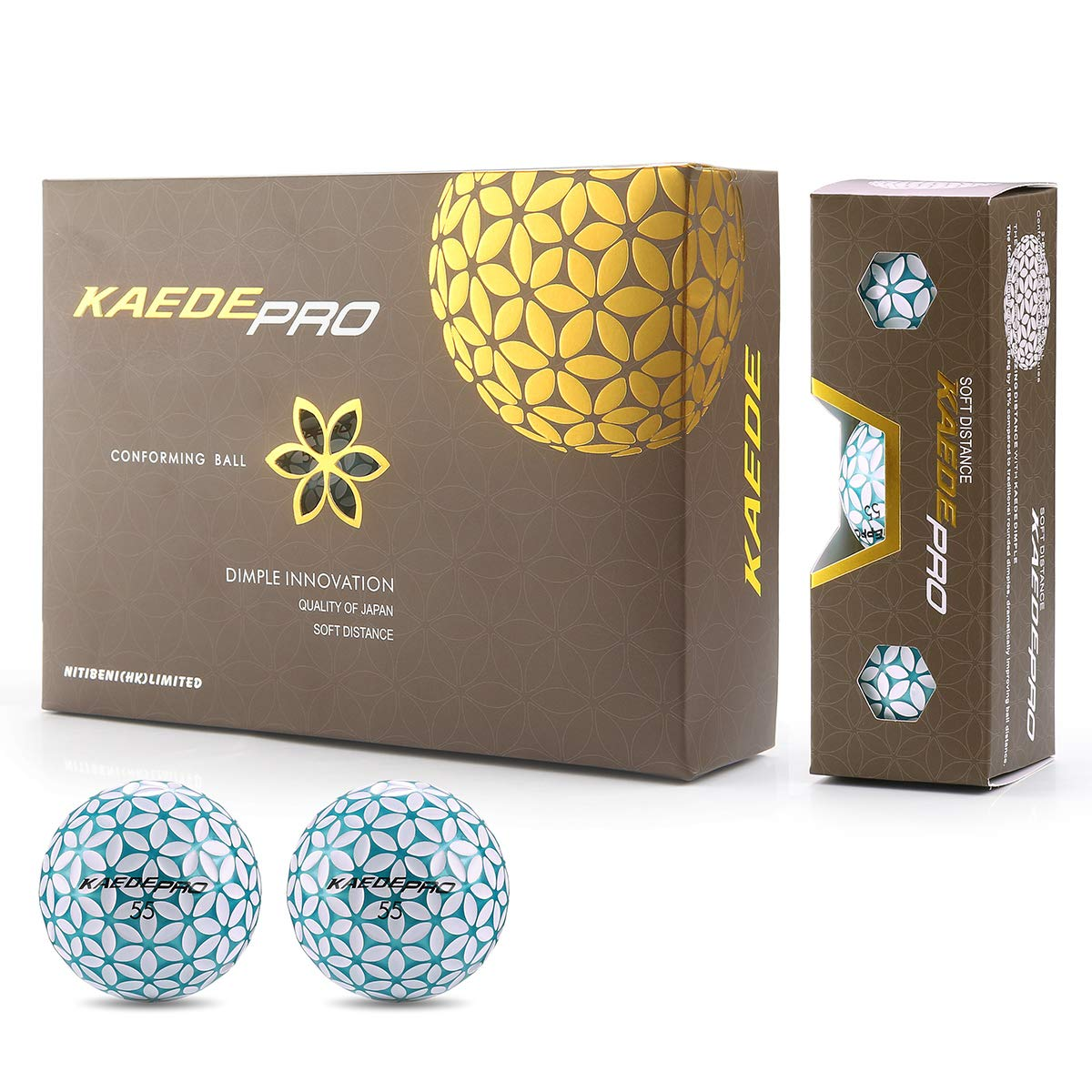 KAEDE Pro Double Colored Conforming Distance Golf Ball (One Dozen)(3-Layer)
