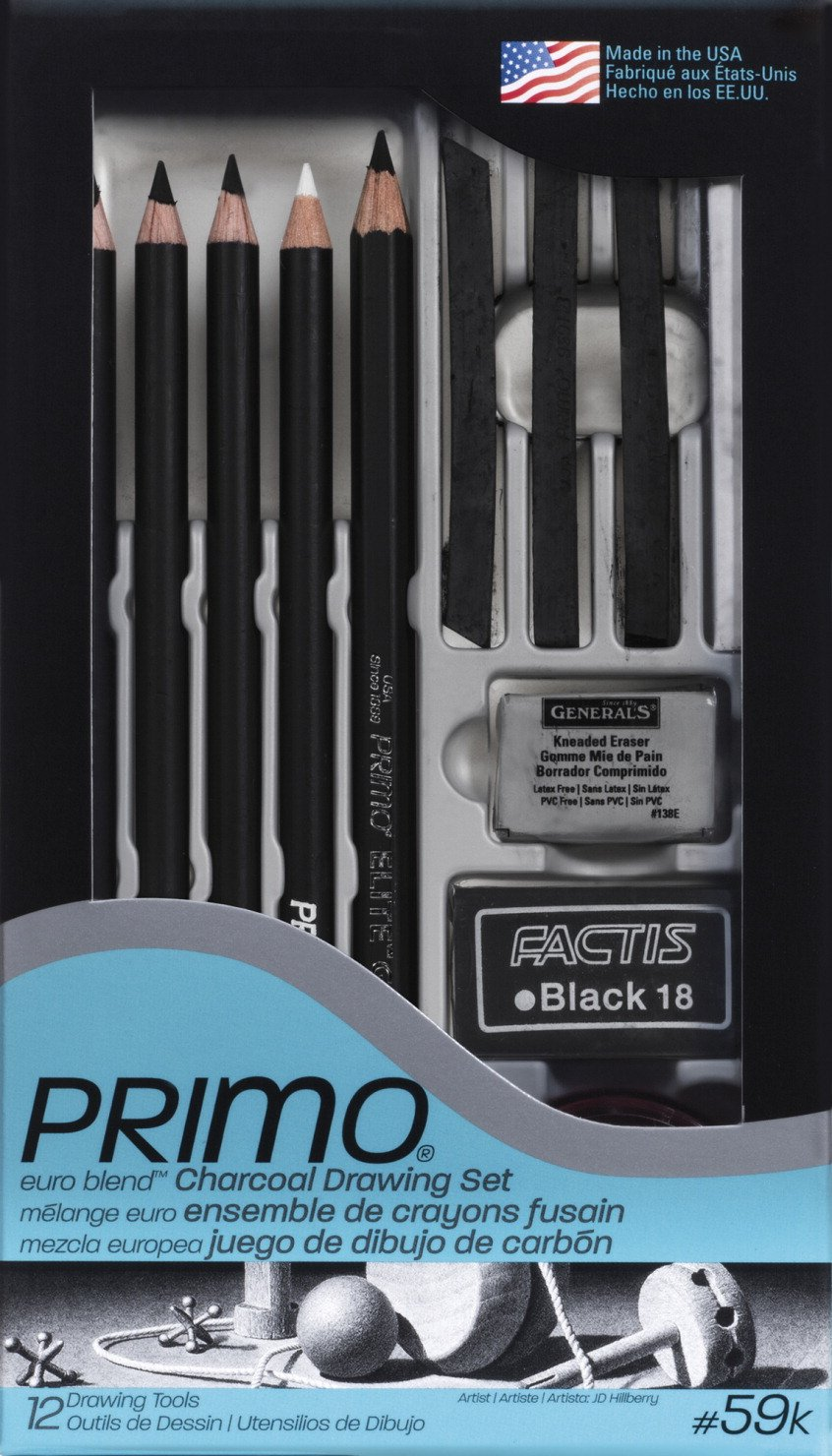 Set of 12 Generals Primo Charcoal Deluxe Drawing Set