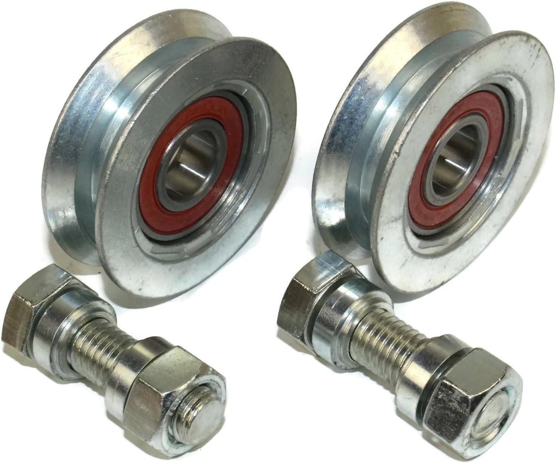 (V58-12) - Lote de 2 ruedas para puerta corredera (polea y ranura V, acero, 58 mm de diámetro, eje de 12 mm)