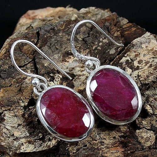 Kanika Jewelry Trove Oval Drop Ruby Gemstone Solid 925 Sterling Silver Earrings