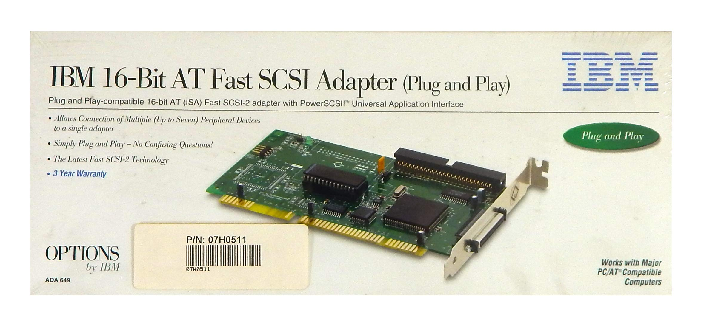 IBM 16-Bit ADA-649 AT SCSI Adapter Retail 06H9649 by .IBM.