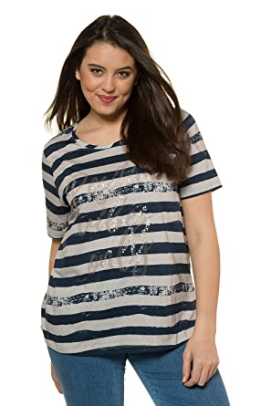 9cf99a0e1fc Ulla Popken Women s Plus Size Positive Vibes Only Statement Tee 716187 at  Amazon Women s Clothing store